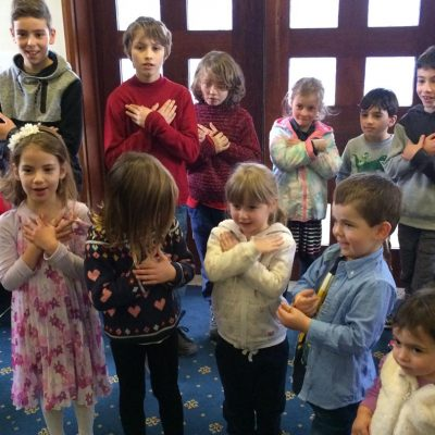 Sunday school children singing e